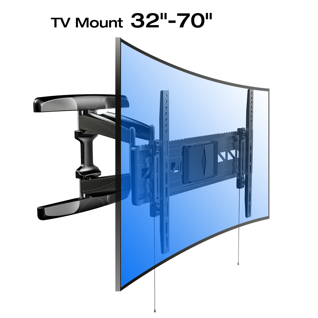 Loctek R2 Curved TV Wall Mount Bracket for 32-70 LCDLEDOLED TV with 19'' in Extension, Black