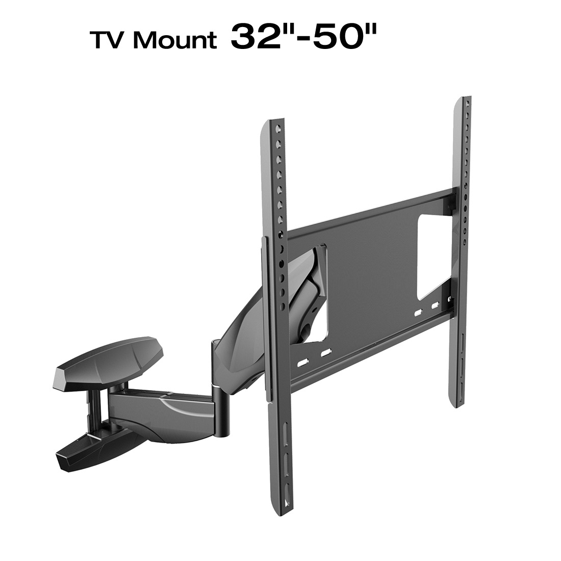 Loctek S1 Black Wall Mount Bracket with Full Motion Swivel Articulating Arm with free HDMI Cable 32-50inches
