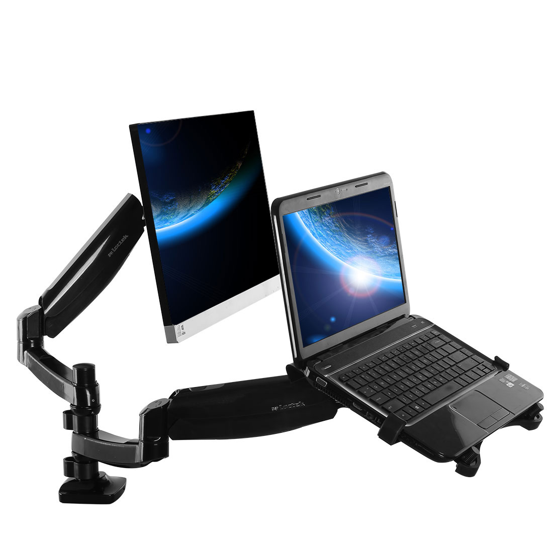 loctek dual arm monitor laptop mount d5dl loctek ergonomic. Black Bedroom Furniture Sets. Home Design Ideas