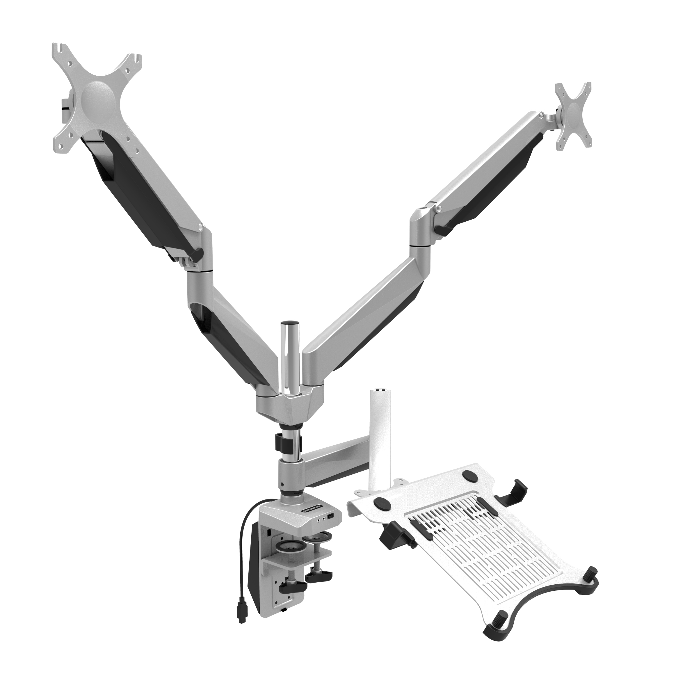 "LOCTEK D7TP SWIVEL TRIPLE ARM DESK LCD LAPTOP MOUNT MONITOR STAND FITS 10""-27"" COMPUTER SCREEN & 10.1""-17.3"" NOTEBOOK"